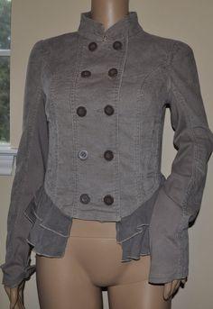 Free People Brown Corduroy Military Ruffle Button-Down Jacket Size 10  preown #FreePeople #BasicJacket