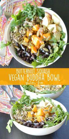Butternut Squash Vegan Buddha Bowl combines arugula, quinoa, black beans, apple, pumpkin seeds, and tahini lime dressing. (gluten-free, oil-free option) #vegan #glutenfree #butternutsquash #buddhabowl