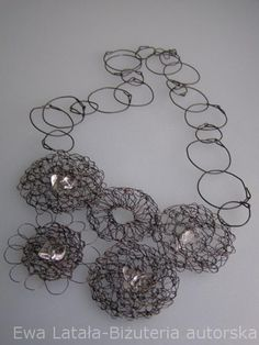 NECKLACE - made of special steel wire. Hand made designer jewellery.crystals, new, unique by EcoDyeing on Etsy Jewelry Displays, Designer Jewellery, Crochet Earrings, Wire, Steel, Crystals, Trending Outfits, Unique Jewelry, Handmade Gifts