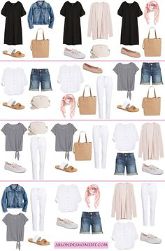 12 outfits in a carry-on travel style travel capsule, travel Capsule Outfits, Fashion Capsule, Mode Outfits, Fashion Outfits, Capsule Wardrobe Summer, Holiday Wardrobe, Womens Fashion, Travel Wardrobe Summer, Trendy Outfits