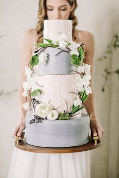 Dusty blue grey wreath cake with wafer paper texture. Cake: Just Delightful Cakery Photo: Retrospect Images Location: Tyge Cellars