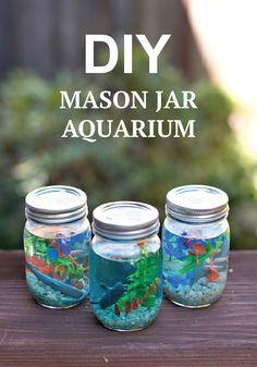 Kids will love making these fun mason jar aquariums this summer. Kids will love making these fun mason jar aquariums this summer. Pot Mason Diy, Mason Jars, Mason Jar Crafts, Diy Aquarium, Aquarium Ideas, Crafts To Do, Kids Crafts, At Home Crafts For Kids, Craft Projects