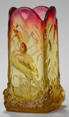 Amberina vase, flowers, stork with snake in mouth, 4-5/8 in. Base wear and small base chips. Illustrated in Ray and Lee Grover, [Art Glass Nouveau], Charles Tuttle Company, Rutland, Vermont, 1967