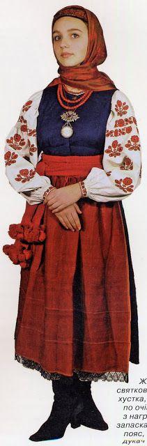 FolkCostume&Embroidery: East Polissia Costume with Talijka, or skirt with bodice, Ukraine
