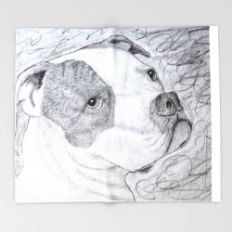 American Bulldog Portrait Drawing Throw Blanket
