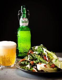 Warm salads can be a great way to get your veggies in without eating chilly raw veg. Add crisp bacon and a decadent blue cheese dressing. Beer optional!