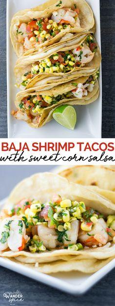 Shrimp Tacos with Corn Salsa | shrimp | tacos | Mexican | seafood | corn | salsa