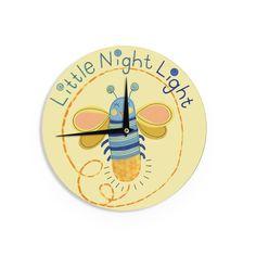 Kess InHouseJane Smith 'Little Night Bug' Yellow Blue Wall Clock (Little Night Bug) (Wood)