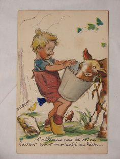 Carte postale ancienne à système signée Germaine Bouret N°3