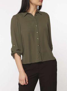 Womens Petite Khaki Roll Sleeve Shirt- Khaki
