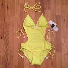412a6f8ba78 Juicy Couture New Ultra Yellow Y58190 One-piece Bathing Suit Size 6 (S) 52%  off retail