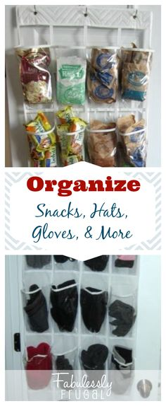 Easy, cheap way to organize your pantry snacks or gloves, and more! Hooray for organization!