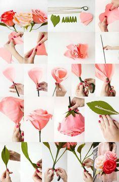 Diy crepe paper garden rose pinterest crepe paper crepes and diy giant crepe paper roses mightylinksfo