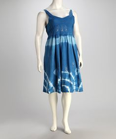 Take a look at this Royal Blue Tie-Dye Plus-Size Dress by Unity on #zulily today!