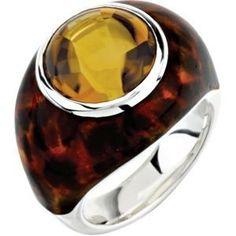 Jewelplus Genuine Honey Quartz Ring With Leopard Print Enamel Sterling Silver Size 07.00 12.00X12.00 Mm