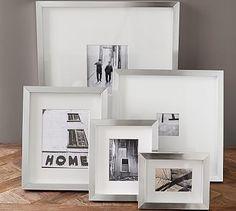 Lee Gallery Frames #potterybarn brushed pewter finish    14 x 16 good w black & white photo