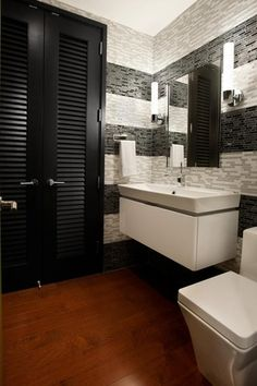 Contemporary Powder Room with American olean moonstone mm02 random mosaic tile, Wall sconce, Glass mosaic tile, Louvered door