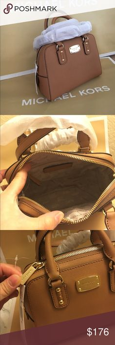 """🍀MK Saffiano satchel Authenic brand new . Has removable strap for crossbody. Acorn (light brown) color size 10x8x5.5, handle drop 5"""". Lower in vinted or 🅿️🅿️ Michael Kors Bags Satchels"""