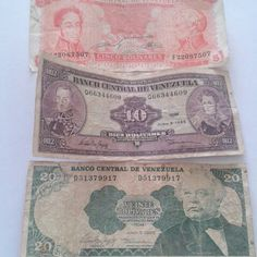 Billetes de ayer. Bolivares. Venezuela