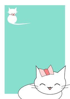 Free printable cat stationery - kawaii cat - aqua colored - freebie
