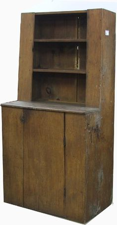 pine canted step back cupboard