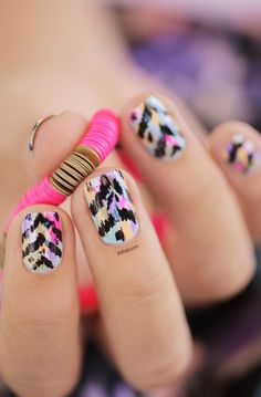 Bright Aztec Nail Design