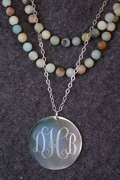 Get in on the Fall #layering trend with our favorite Long #Monogram Necklace! $28  Large SilverMonogram Necklace This super trendy silver colored #necklace will really stand out. Large monogram necklace is long and great for layering. Perfect for yourse... #preppy #monogram #jewelry #engraved #graduation #jewerly #personalized ➡️ http://jto.li/BDCAf