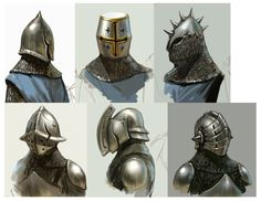 Medieval Helmets, Medieval Armor, Medieval Fantasy, Fantasy Character Design, Character Concept, Character Art, Game Concept Art, Armor Concept, Arte Sci Fi