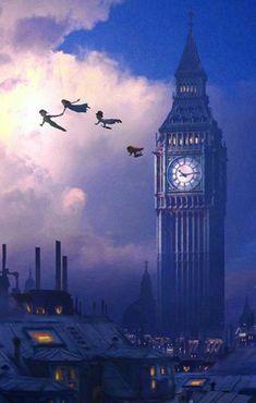Wallpaper Disney - You Can Fly Disney Peter Pan Big Ben London Neverland Artwork Giclée on Canvas . - Wildas Wallpaper World Disney Pixar, Disney Cartoons, Disney E Dreamworks, Art Disney, Disney Kunst, Disney Films, Disney Love, Disney Magic, Disney Characters