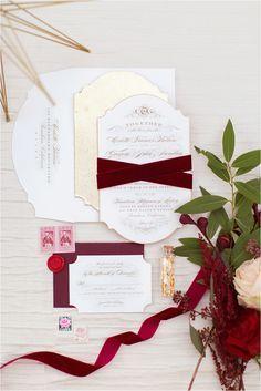 Gold letterpress invitation with burgundy velvet ribbon. Invitation by Jasmin Michelle Designs. Photo by Damaris Mia Photography // www.damarismia.com