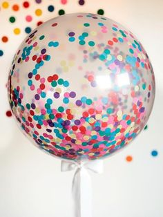 purple party: all purple confetti . How to Make a Giant Confetti Balloon for a Sprinkles Baby Shower : Home Improvement : DIY Network Round Balloons, Giant Balloons, Clear Balloons With Confetti, Tulle Balloons, Filling Balloons, Sprinkle Party, Baby Sprinkle, Sprinkle Shower, Glitter Ballons