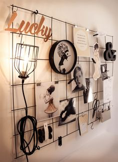 DIY Mesh Mood Board - Rebar sprayed black and wall mounted with ceiling hooks.