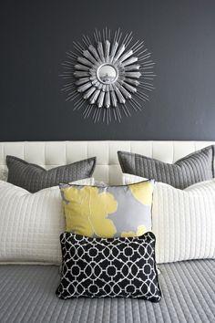 gray + yellow #bedroom