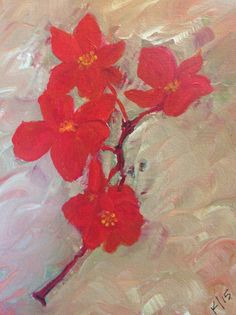 Spoiled Flowers From a Pot by Karen Woodbury   8 x 5 acrylic on canvas   Copyright 2015 all rights reserved