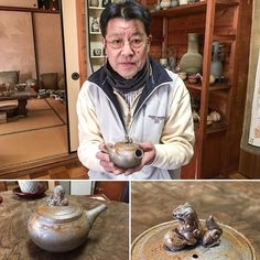 Mr. Tanikawa Jin holding his new Mogake teapot with shishi lion on the lid.  #japanesepottery  #japaneseceramics  #pottery #ceramics #tea #greentea #wabipot #teatime #instatea #茶壶