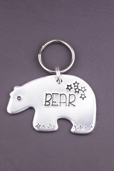 Your dog will love wearing this whimsical bear id tag. This unique dog tag is perfect dogs who love wilderness and adventure! Each tag is handmade to order just for you. Custom Dog Tags, Personalized Dog Tags, Dog Name Tags, Dog Id Tags, Polar Bear Dogs, Just In Case, Just For You, Jewelry Polishing Cloth, Pet Names