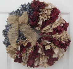 Flag Rag Wreath Americana 16 Patriotic U.S.  by RaggedyApple, $55.00