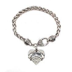 Nail Tech Pave Heart Charm Bracelet