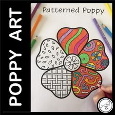 Poppy templates to make patterned poppies. Great for Anzac Day, Memorial Day, Veterans Day, Armistice Day and Remembrance Day. Draw patterns in the petals with a black pen or fine sharpie and then add colour. 3 BLANK TEMPLATES:Poppy with white centrePoppy with black centrePoppy with detailed cen... School Resources, Classroom Resources, Poppy Template, Armistice Day, Anzac Day, Remembrance Day, School Themes, Writing Poetry, Drawing Practice