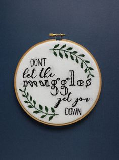 Harry Potter hand embroidery, don't let the muggles get you down, leaf embroidery, hand embroidery, nursery wedding art