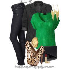 Black or dark denim skinny jeans and boyfriend blazer, cuuuute Steve Madden Leopard Pumps, and pop of emerald