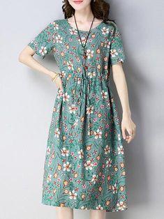 Casual Dresses – Page 23 – linenlooks Women's A Line Dresses, Elegant Midi Dresses, Spring Dresses Casual, Casual Dresses For Women, Short Sleeve Dresses, Dress Casual, Simple Kurta Designs, Daily Dress, Fashion Dresses