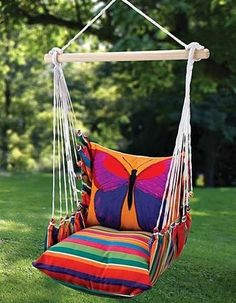The Butterfly Indoor/Outdoor Swing Chair- I love this! It may be a nice compromise- instead of having a hammock in the house! Backyard Hammock, Hammock Chair, Swinging Chair, Hammock Swing, Hammocks, Hammock Ideas, Swing Chairs, Outdoor Hammock, Room Hammock