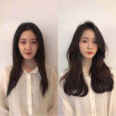 Curly Asian Hair, Korean Long Hair, Korean Hair Color, Medium Short Hair, Medium Hair Styles, Long Hair Styles, Long Hair With Bangs, Long Hair Cuts, Chocolate Brunette Hair