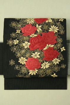 Black Nagoya Obi, Red Rose and Gold Flower Pattern / 黒地 赤い薔薇と金の花柄お太鼓柄 名古屋帯   #Kimono #Japan  http://www.rakuten.co.jp/aiyama/
