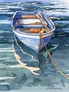 Easy Watercolor, Watercolor Landscape, Landscape Paintings, Watercolor Paintings, Watercolors, Watercolor Water, Boat Drawing, Afrique Art, Boat Art