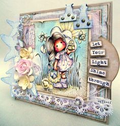 Magnolia card by Deb.x  'Let your light shine'  image 'Tilda with egg & chicken'