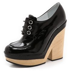 Jil Sander Alexia Platform Oxfords - Black ($299) ❤ liked on Polyvore