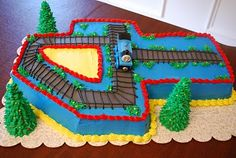 Thomas Train cake. Love doing the number and then decorating it with the theme.