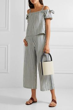Solid and Striped - Staud Leather-trimmed Cotton-canvas Bucket Bag - Ecru - One size Spring Summer Fashion, Spring Outfits, Solid And Striped, Cloth Bags, Cotton Canvas, Casual Chic, Bucket Bag, Fashion Online, Fashion Outfits